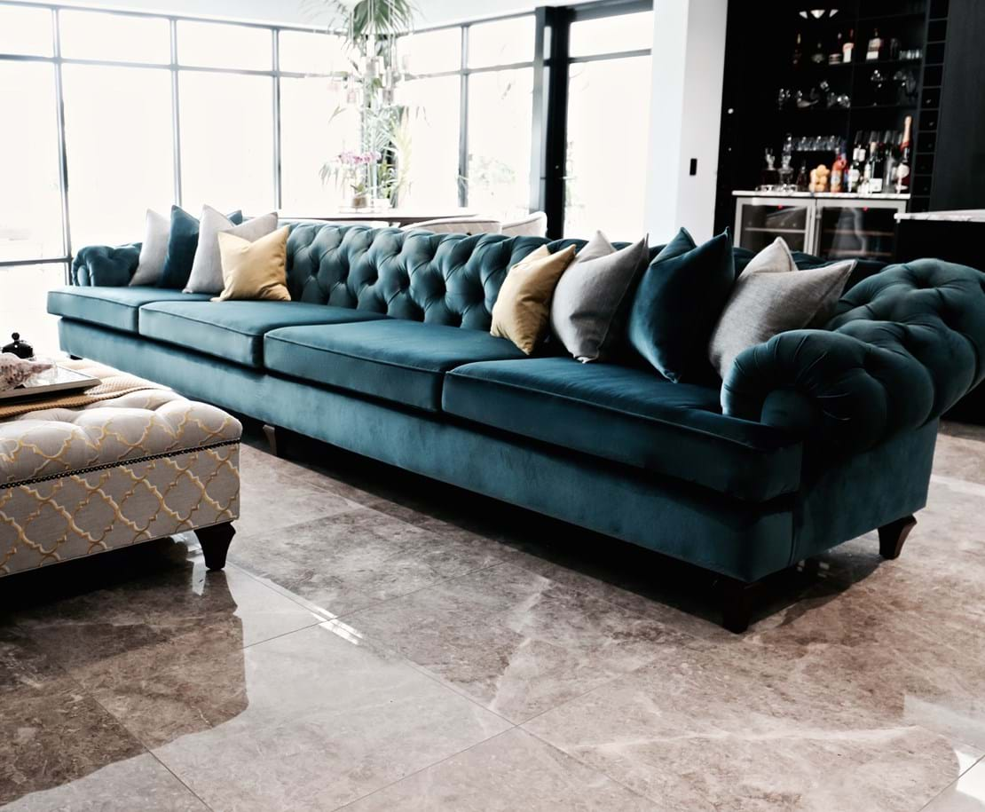 sofa, couch, ottoman, footstool, contemporary, chesterfield, tufted, diamond buttoning, custom made, upholstery, chair, lounge chair, australia, melbourne, sydney, perth, adelaide, brisbane