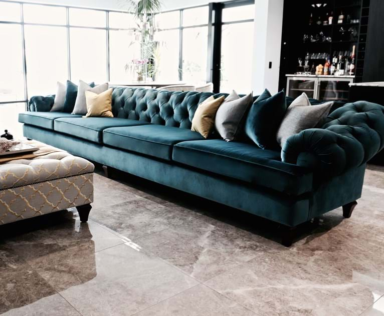 sofa, couch, contemporary chesterfield, tufted, diamond buttoning, custom made, upholstery, chair, lounge chair, velvet, linen, leather, australia, melbourne, sydney, perth, adelaide, brisbane