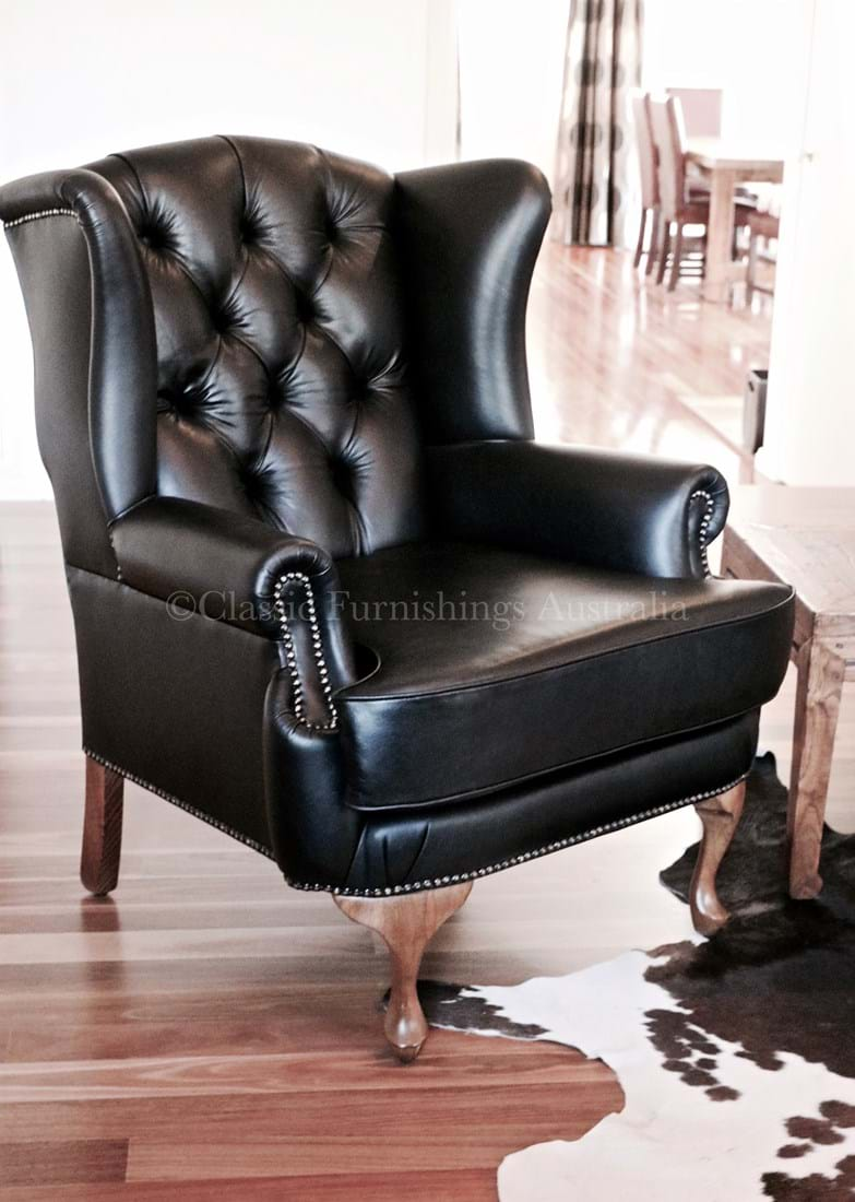 wing chair, arm chair, lounge chair, chesterfield, tufted ...
