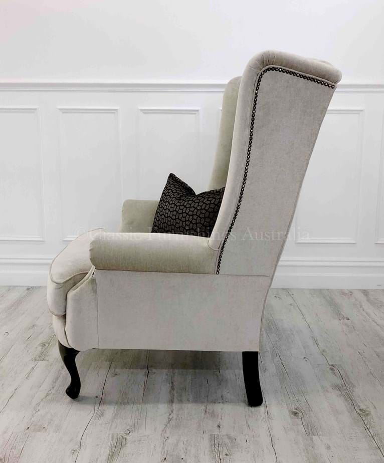 Wing Chair, arm chair, lounge chair, chesterfield, tufted, diamond buttoning, custom made, upholstery, australia, melbourne, sydney, perth, adelaide, brisbane