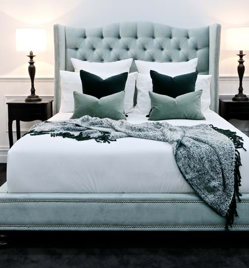 waldorf, wing bed head, wing bedhead, upholstered beds, upholstered bedheads,bedheads, headboards, buttoned bed, buttoned bedhead, chesterfield, tufted, diamond buttoning, bed heads, custom made, australia, melbourne, sydney, perth, adelaide, brisbane